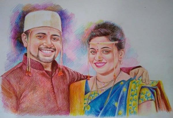 handmade color pencil portrait couple by Koushik Mondal