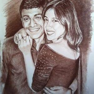 handmade charcoal couple portrait