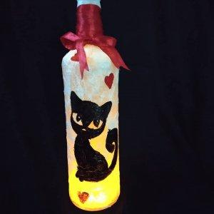 Cat Themed Painted Bottle by Batliwali