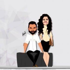 Abhay and Mithila Nirma Caricature