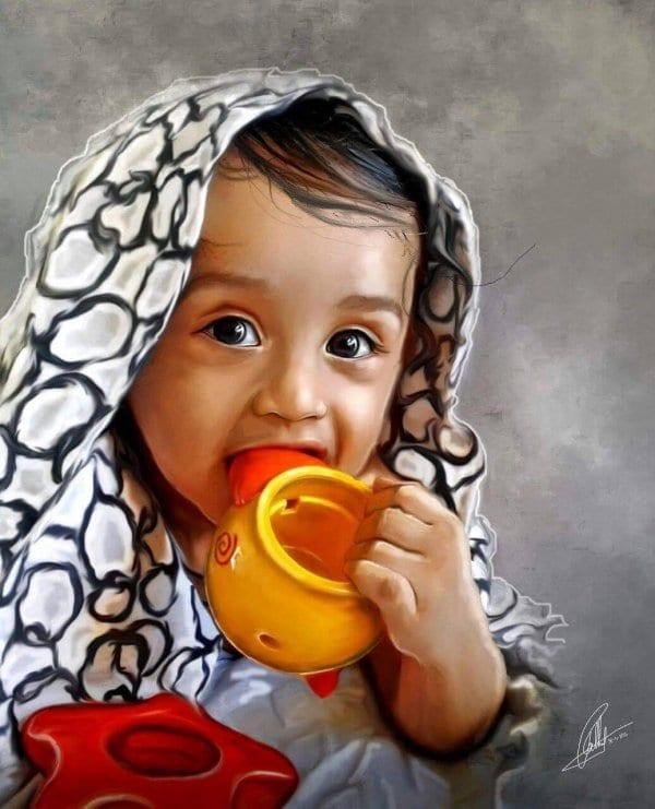Baby Hyper Realistic Portrait by Ajay Rathod