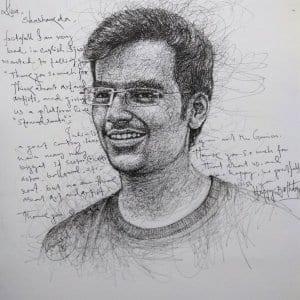 Handwritten Letter with Scribble Portrait by Koushik