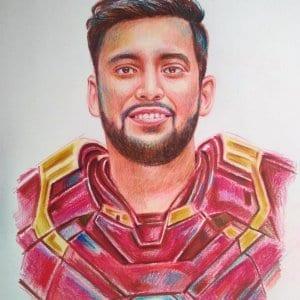 Personalised Iron man Colour Portrait by Koushik