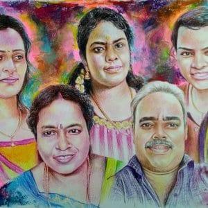 Students with Teacher Colour Portrait by Koushik