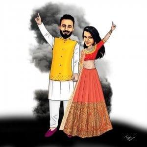 indian wedding couple caricature