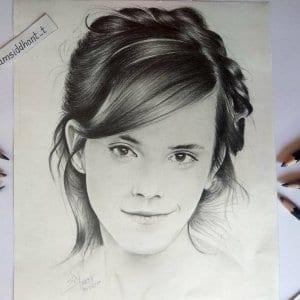 Hermione Hyper Realistic Pencil Portrait- Siddhant
