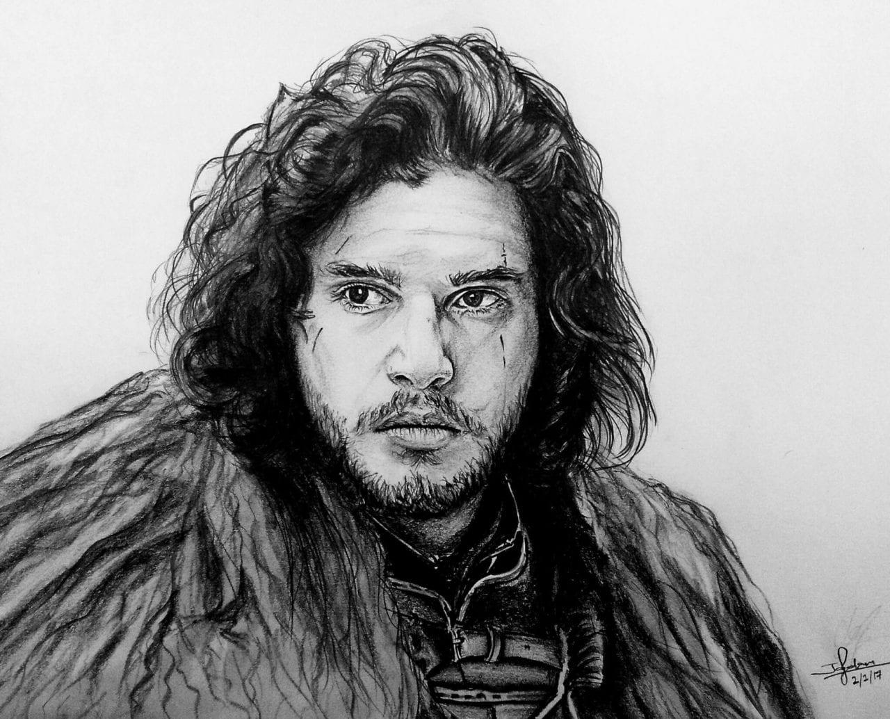 Jon snow pencil portrait by jay