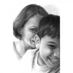Mother Son Pencil Portrait by Monica
