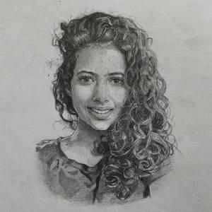 Girl Pencil Portrait by Virender