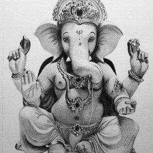 Ganesh God Hyper Realistic Pencil Portrait- Om Prakash